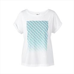 MINI Ladies  Contrast Signet Print T-Shirt White/Aqua