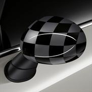 Black/Grey Checkered Flag Mirror Caps