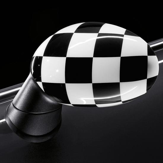 Checkered flag mirror caps for Mirror 600 x 600