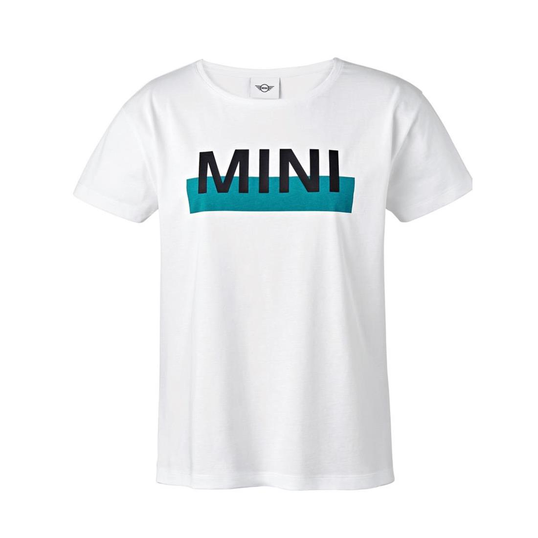 Shopminiusa Mini Ladies Wordmark Color Block T Shirt Whiteaqua